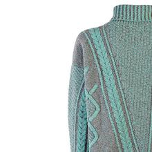 Load image into Gallery viewer, Mock Neck Aran V Cable Plait, Jade