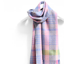 Load image into Gallery viewer, Wool & Cashmere Scarf, Pink Blue & Green Check