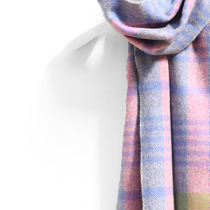 Wool & Cashmere Scarf, Pink Blue & Green Check