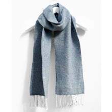 Load image into Gallery viewer, Merino & Cashmere Scarf, Blue & Grey Herringbone
