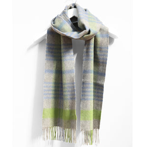 Wool & Cashmere Scarf, Grey Green & Blue Check