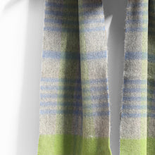 Load image into Gallery viewer, Wool & Cashmere Scarf, Grey Green & Blue Check