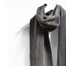 Load image into Gallery viewer, Wool & Cashmere Scarf, Grey Navy & Brown Mix Stripe