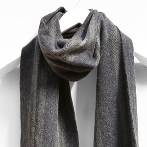 Wool & Cashmere Scarf, Grey Navy & Brown Mix Stripe