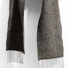 Load image into Gallery viewer, Merino & Cashmere Scarf, Grey Herringbone
