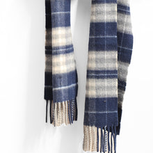 Load image into Gallery viewer, Wool & Cashmere Scarf, Navy Grey & White Plaid