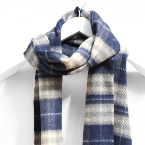 Wool & Cashmere Scarf, Navy Grey & White Plaid