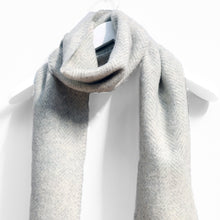 Load image into Gallery viewer, Merino & Cashmere Scarf, Silver Grey Herringbone