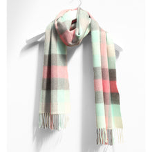 Load image into Gallery viewer, Merino Wool Scarf, Aqua & Pink Block