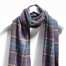 Load image into Gallery viewer, Merino Wool Scarf, Blue Camel & Purple Check