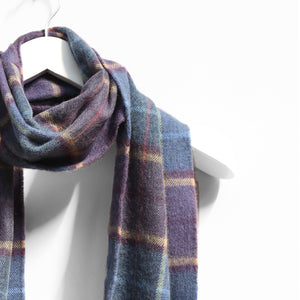 Merino Wool Scarf, Blue Camel & Purple Check