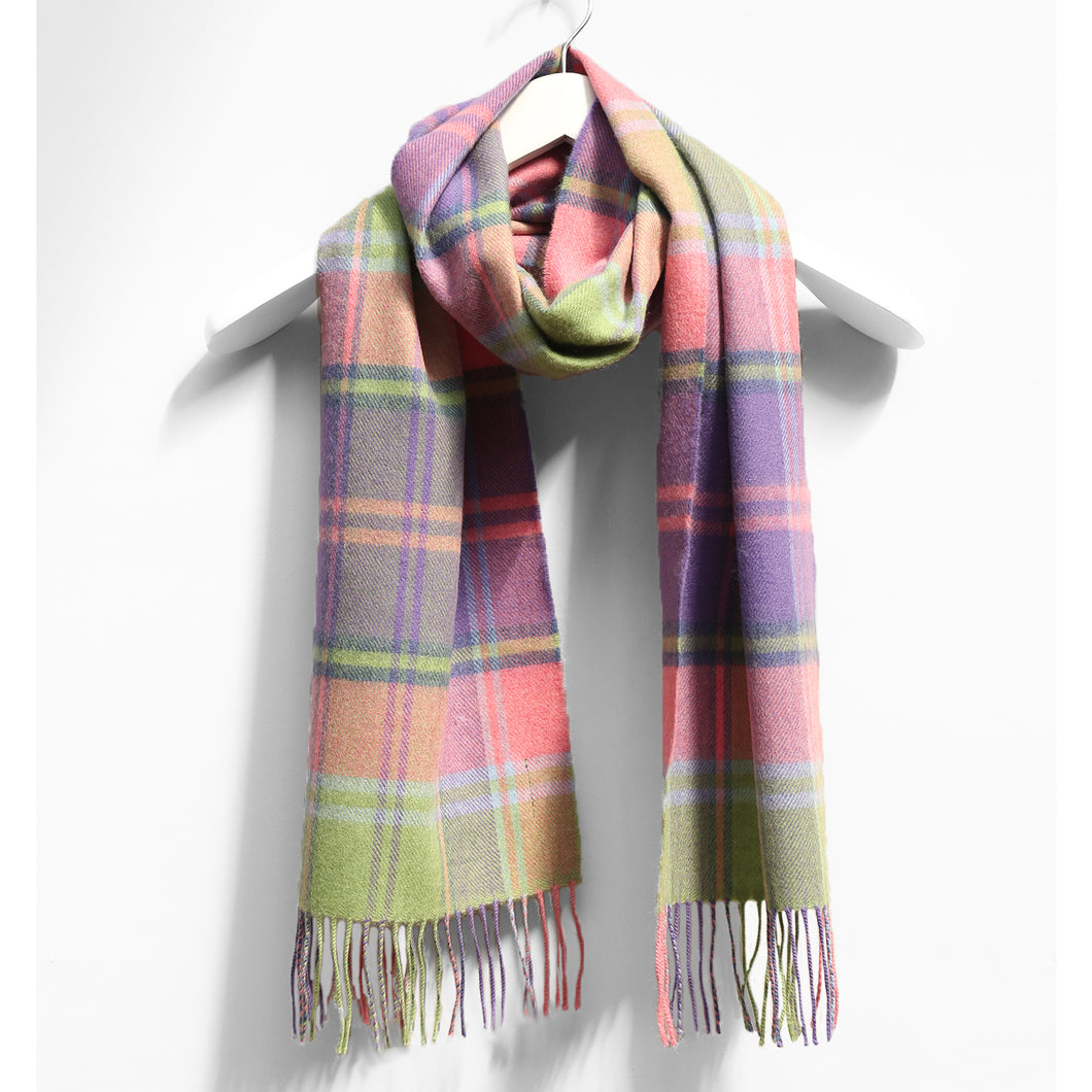 Merino Wool Scarf, Purple & Pink Square