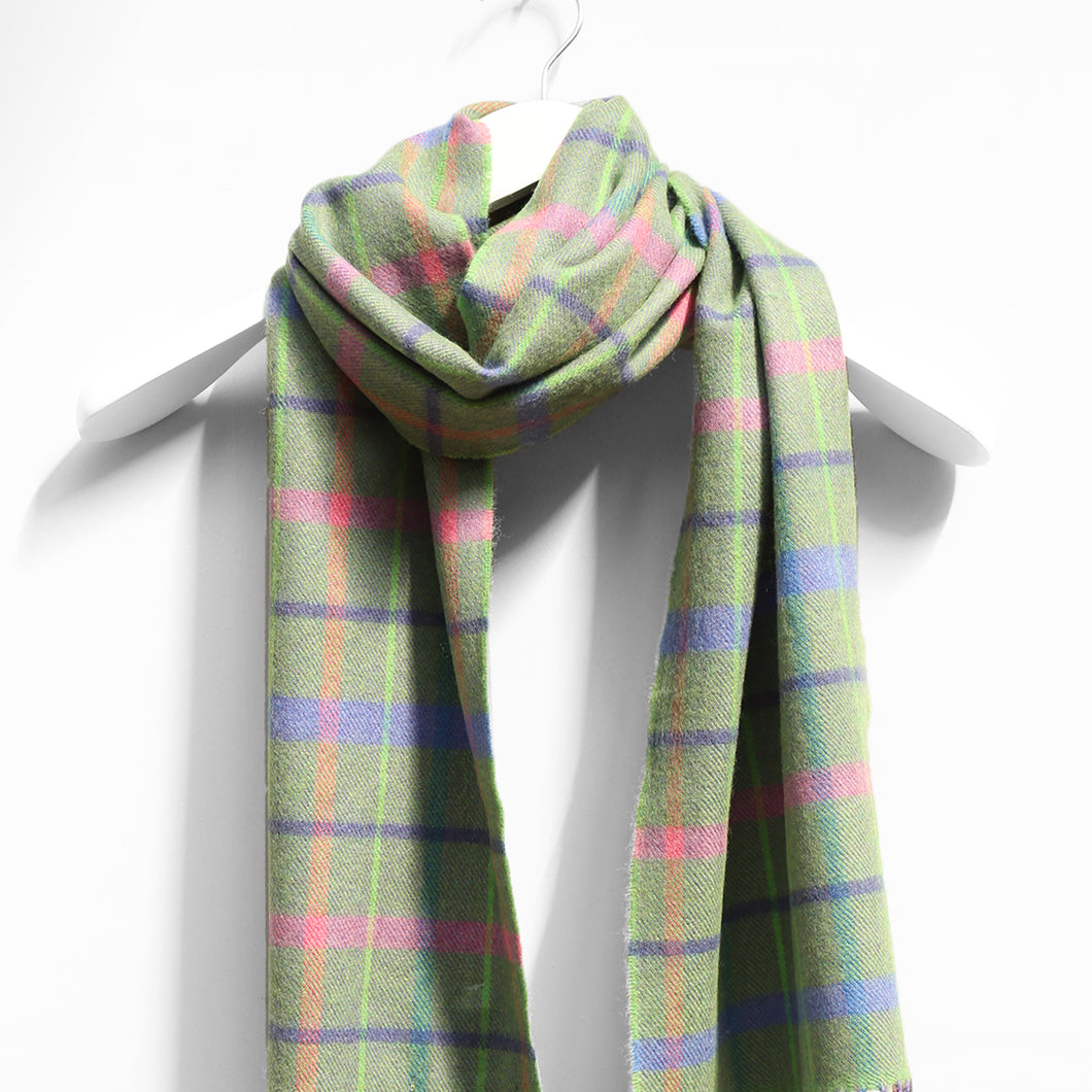 Merino Wool Scarf, Green, Purple & Pink Check