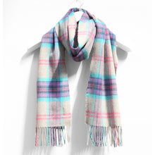 Load image into Gallery viewer, Merino Wool Scarf, Grey Purple Aqua Plaid
