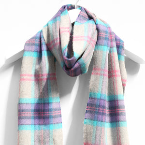 Merino Wool Scarf, Grey Purple Aqua Plaid