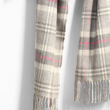 Load image into Gallery viewer, Merino Wool Scarf, Grey, White & Pink Check