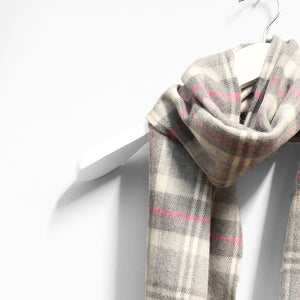 Merino Wool Scarf, Grey, White & Pink Check