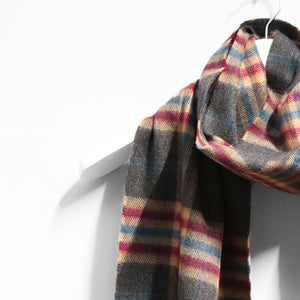 Merino Wool Scarf, Grey Check