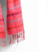 Load image into Gallery viewer, Merino Wool Scarf, Pink Check