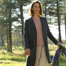 Load image into Gallery viewer, Navy Daisy Checked Donegal Tweed Coat