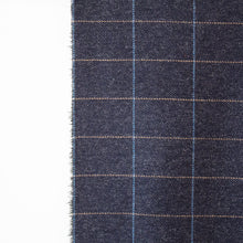 Load image into Gallery viewer, Navy & Beige Windowpane Donegal Tweed Fabric Sample