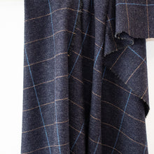 Load image into Gallery viewer, Navy & Beige Windowpane Donegal Tweed Fabric