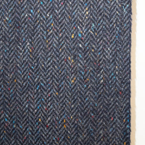 Navy Herringbone Donegal Tweed Fabric