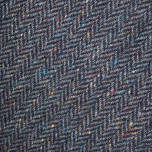 Load image into Gallery viewer, Navy Herringbone Donegal Tweed Fabric