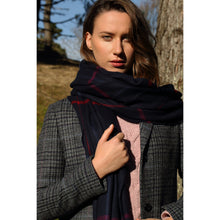 Load image into Gallery viewer, Extra Fine Oversized Merino Scarf, Navy Blue Overcheck