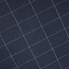 Load image into Gallery viewer, Navy & Blue Windowpane Donegal Tweed Fabric