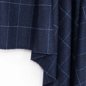 Navy & Blue Windowpane Donegal Tweed Fabric