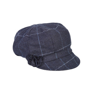 Newsboy Cap, Navy Windowpane