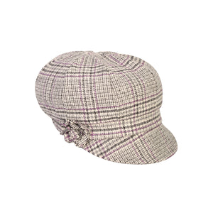 Newsboy Cap, Pink & Grey Houndstooth
