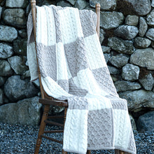 Load image into Gallery viewer, Oatmeal Patchwork Aran Blanket