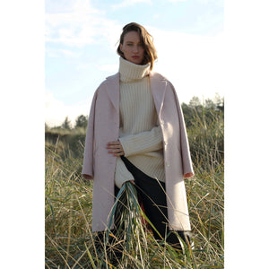Saoirse Coat, Pink & Cream Herringbone