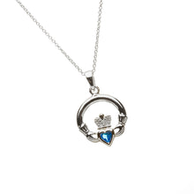 Load image into Gallery viewer, Claddagh Birthstone Pendant December