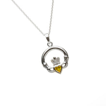 Load image into Gallery viewer, Claddagh Birthstone Pendant November