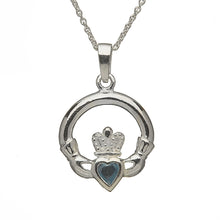 Load image into Gallery viewer, Claddagh Birthstone Pendant March