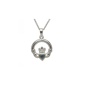 Claddagh Birthstone Pendant March