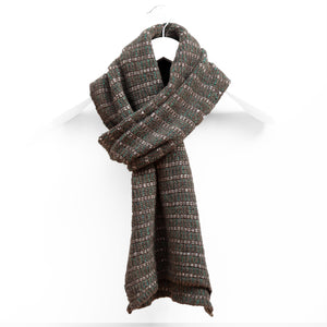Lightweight Pin Striped Scarf, Peat & Green