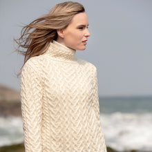 Load image into Gallery viewer, Polo Neck Aran Sweater, Natural