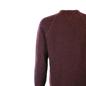 Red & Navy Seed Stitch Crew Neck Sweater