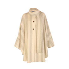 Load image into Gallery viewer, Donegal Tweed Cape - Cream & Green Stripe