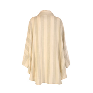 Donegal Tweed Cape - Cream & Green Stripe