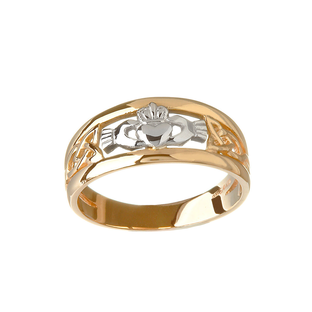 Two Tone Claddagh Ring, Yellow Gold