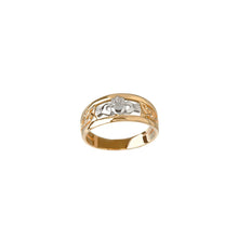 Load image into Gallery viewer, Two Tone Claddagh Ring, Yellow Gold