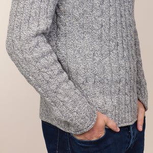 Ribbed Cable Crew Sweater, Pebble
