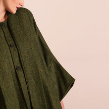Load image into Gallery viewer, Donegal Tweed Cape, Olive Green Herringbone