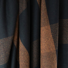 Load image into Gallery viewer, Black & Rust Check Donegal Tweed Fabric
