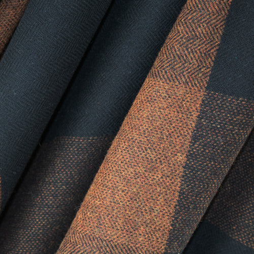 Black & Rust Check Donegal Tweed Fabric